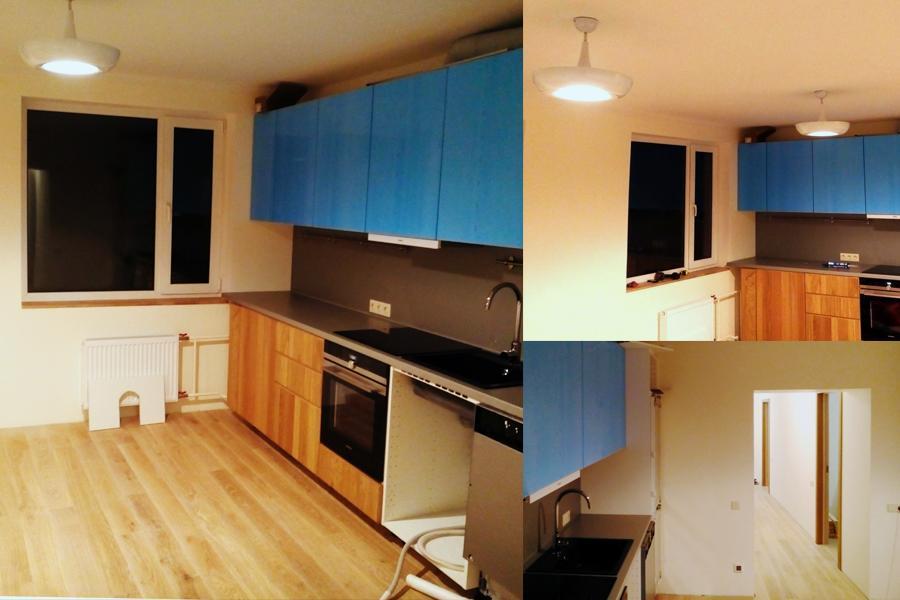 Virtuves montāža, skapīšu montāža. Grīdas seguma maiņa. Logu apdare